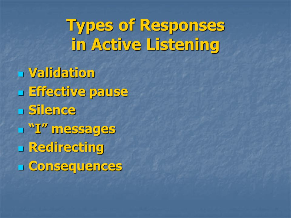 Types of Responses in Active Listening Validation Validation Effective pause Effective pause Silence Silence I messages I messages Redirecting Redirecting Consequences Consequences