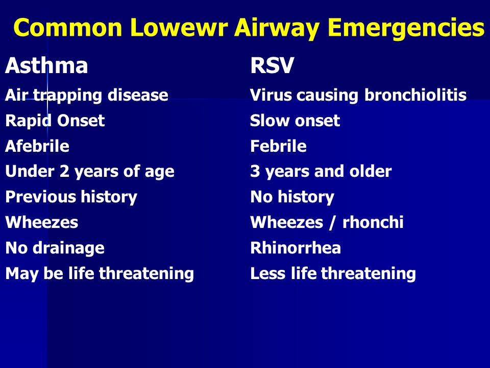 Common Lowewr Airway Emergencies AsthmaRSV Air trapping diseaseVirus causing bronchiolitis Rapid OnsetSlow onset AfebrileFebrile Under 2 years of age3 years and older Previous historyNo history WheezesWheezes / rhonchi No drainageRhinorrhea May be life threateningLess life threatening