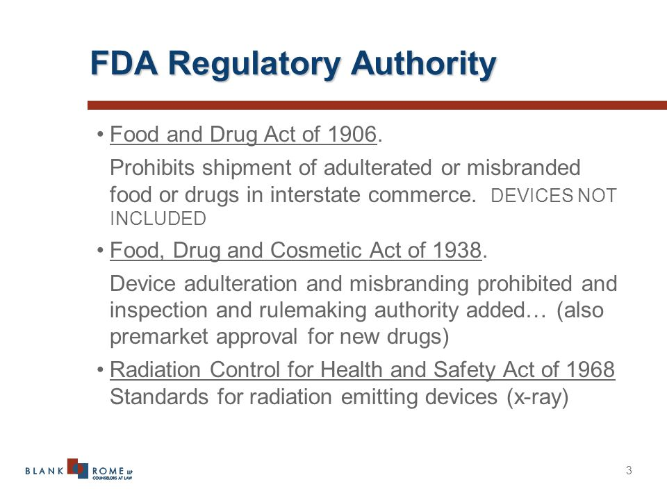 3 FDA Regulatory Authority Food and Drug Act of 1906.