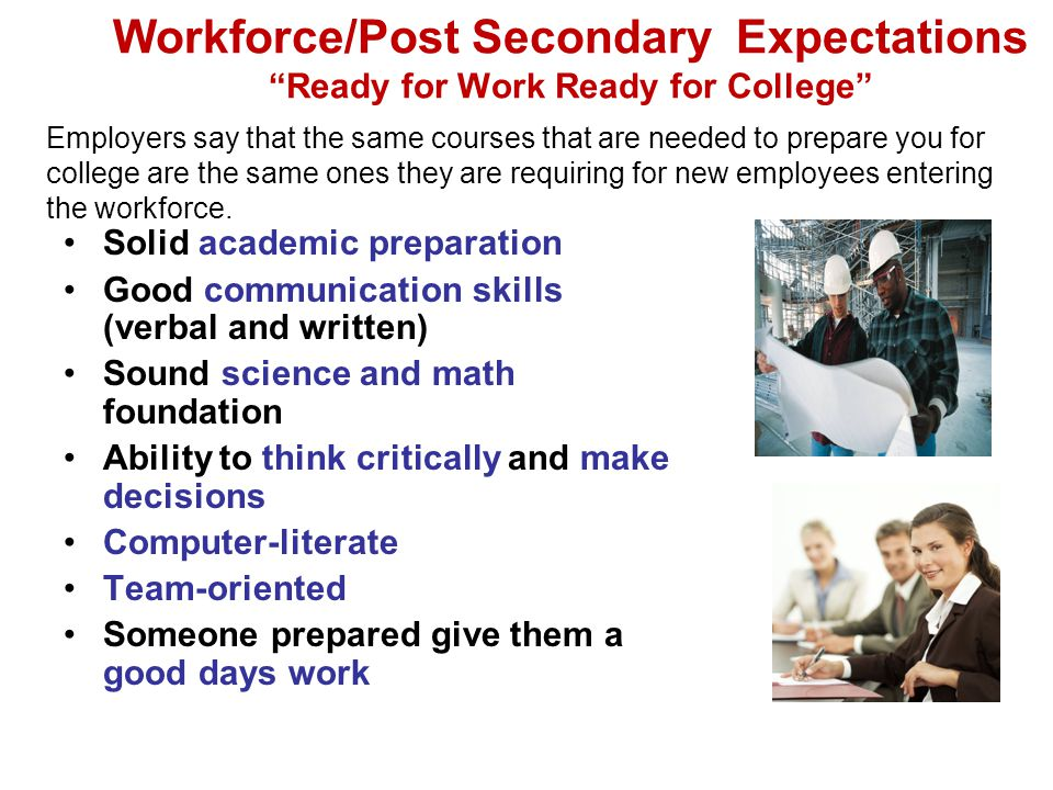 Workforce/Post Secondary Expectations Ready for Work Ready for College Solid academic preparation Good communication skills (verbal and written) Sound science and math foundation Ability to think critically and make decisions Computer-literate Team-oriented Someone prepared give them a good days work Employers say that the same courses that are needed to prepare you for college are the same ones they are requiring for new employees entering the workforce.
