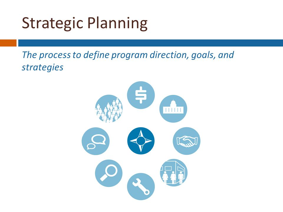 Strategic Planning The process to define program direction, goals, and strategies Strategic Planning Funding Stability Political Support Partnerships Organizational Capacity Program Improvement Surveillance & Evaluation Communications Public Health Impacts