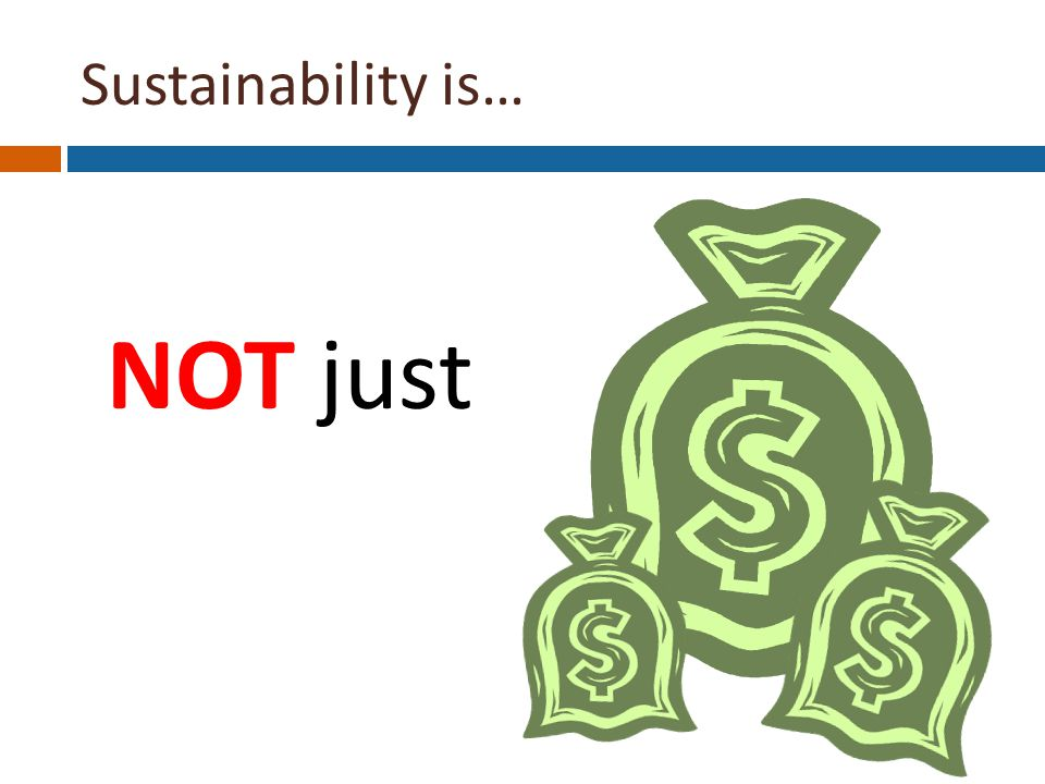 Sustainability is… NOT just