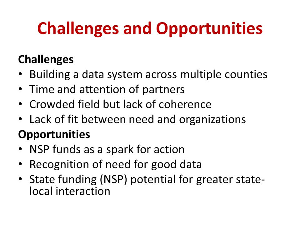 Challenges and Opportunities Challenges Building a data system across multiple counties Time and attention of partners Crowded field but lack of coherence Lack of fit between need and organizations Opportunities NSP funds as a spark for action Recognition of need for good data State funding (NSP) potential for greater state- local interaction