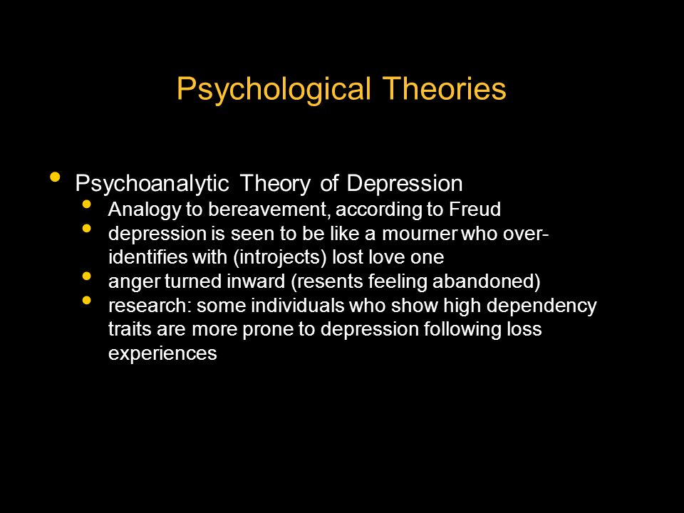 psychoanalytic explanation for mood disorders depression (eg, rosenberg, 1998) does depressed mood facilitate sad emotional reactions circumstantial evidence suggests it does from early psychoanalytic formulations of depression to con.