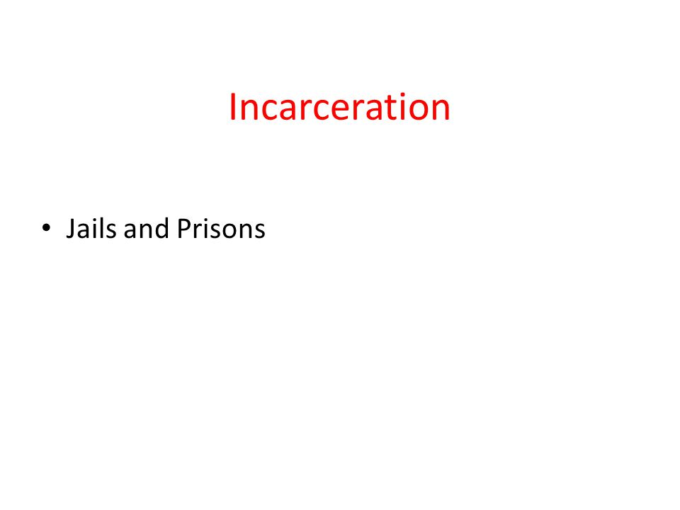 Incarceration Jails and Prisons