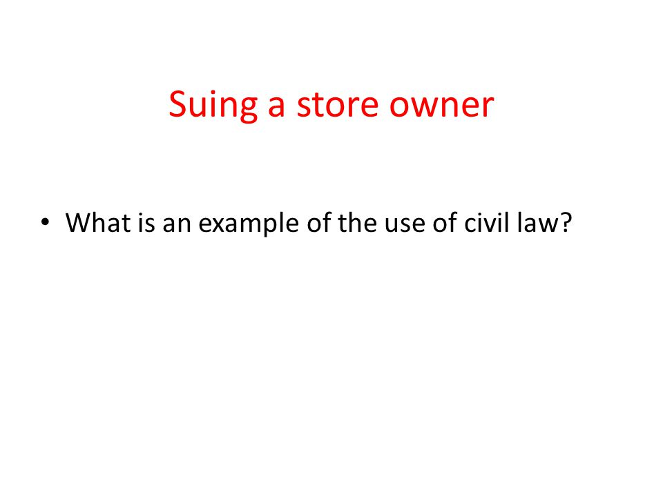 Suing a store owner What is an example of the use of civil law