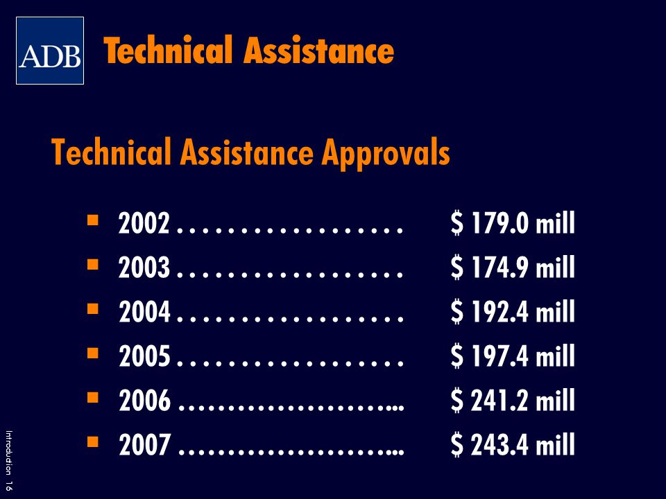 Introduction 16 Technical Assistance Approvals 