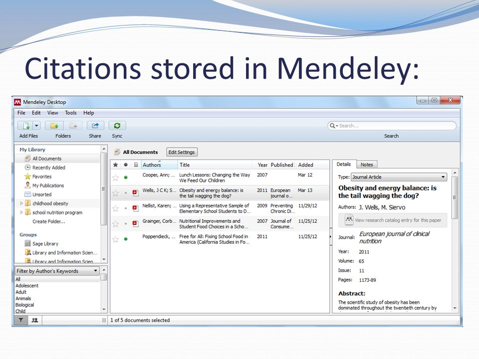 Citations stored in Mendeley: