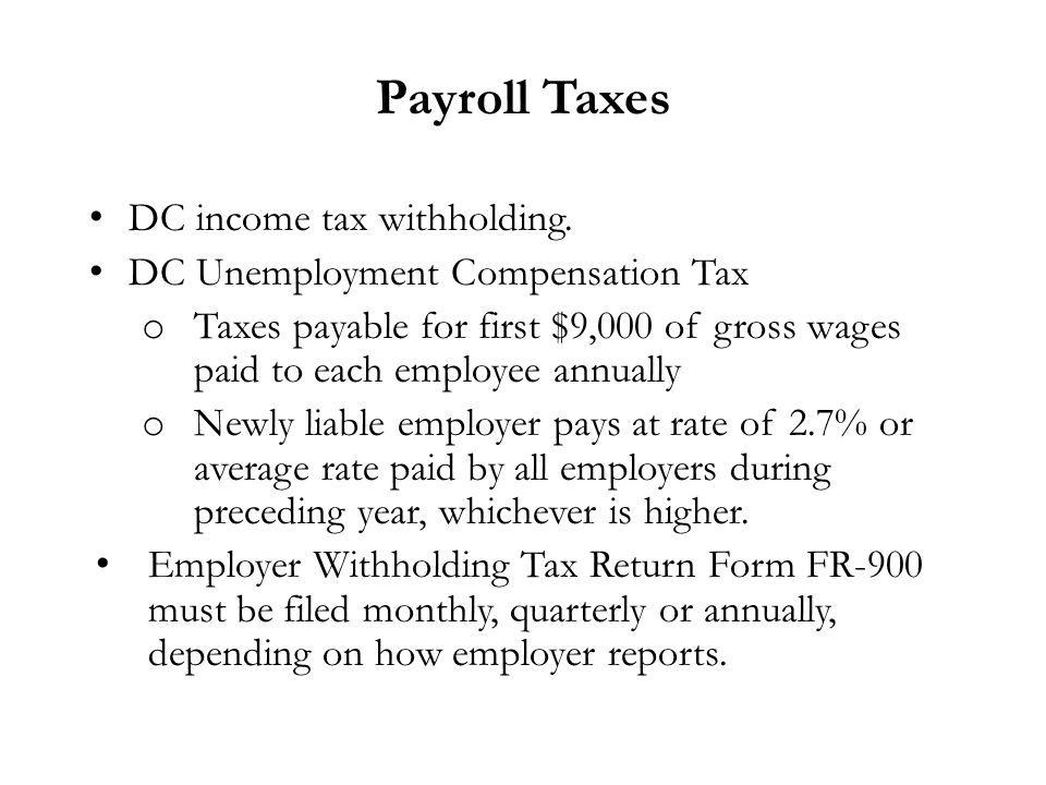 District of Columbia Tax Requirements Susan T. Edlavitch Venable ...