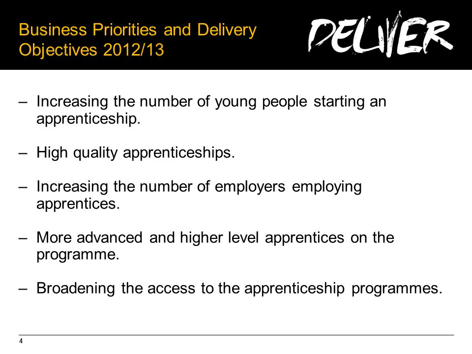 4 Business Priorities and Delivery Objectives 2012/13 –Increasing the number of young people starting an apprenticeship.