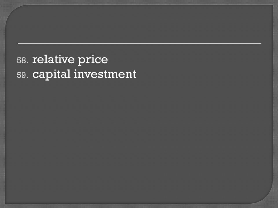 58. relative price 59. capital investment