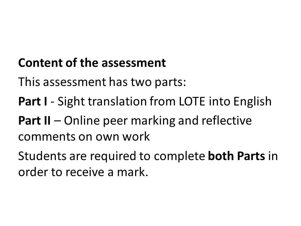 Peer Assessment using the Survey tool Jeremy Aitken Blended ...5 Content ...