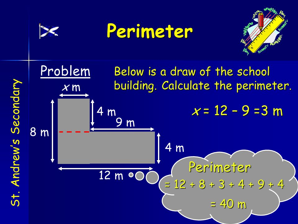 Below is a draw of the school building. Calculate the perimeter.