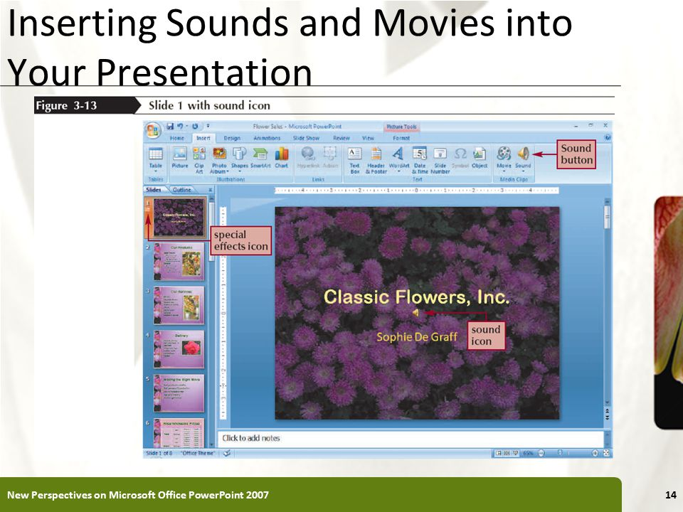 XP Inserting Sounds and Movies into Your Presentation New Perspectives on Microsoft Office PowerPoint
