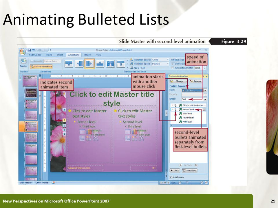 XP Animating Bulleted Lists New Perspectives on Microsoft Office PowerPoint