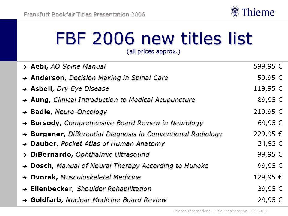 Thieme International Title Presentation Fbf 2006 Frankfurt