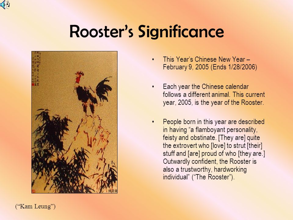 roosters significance this years chinese new year february 9 2005 ends 1 - Chinese New Year 2005