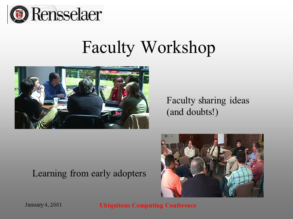 January 4, 2001 Ubiquitous Computing Conference Faculty Workshop Faculty sharing ideas (and doubts!) Learning from early adopters