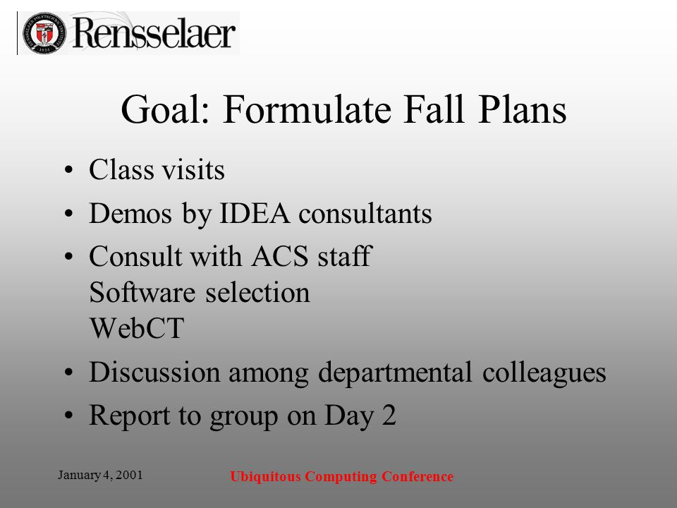 January 4, 2001 Ubiquitous Computing Conference Goal: Formulate Fall Plans Class visits Demos by IDEA consultants Consult with ACS staff Software selection WebCT Discussion among departmental colleagues Report to group on Day 2