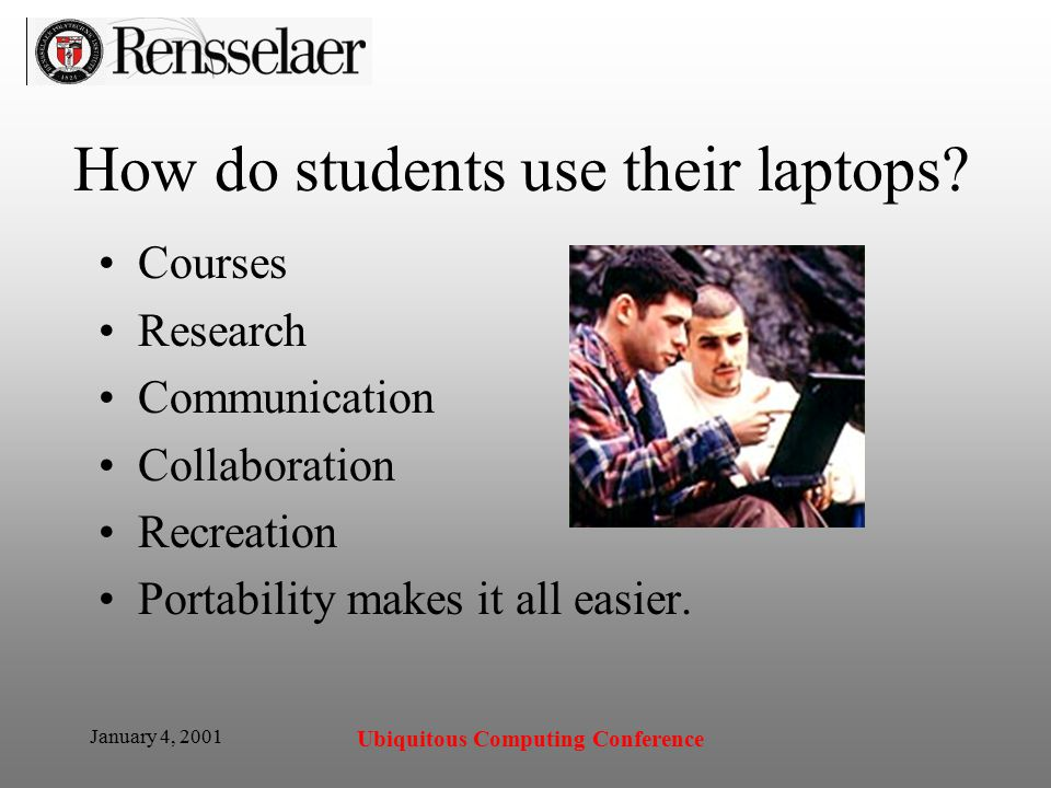 January 4, 2001 Ubiquitous Computing Conference How do students use their laptops.