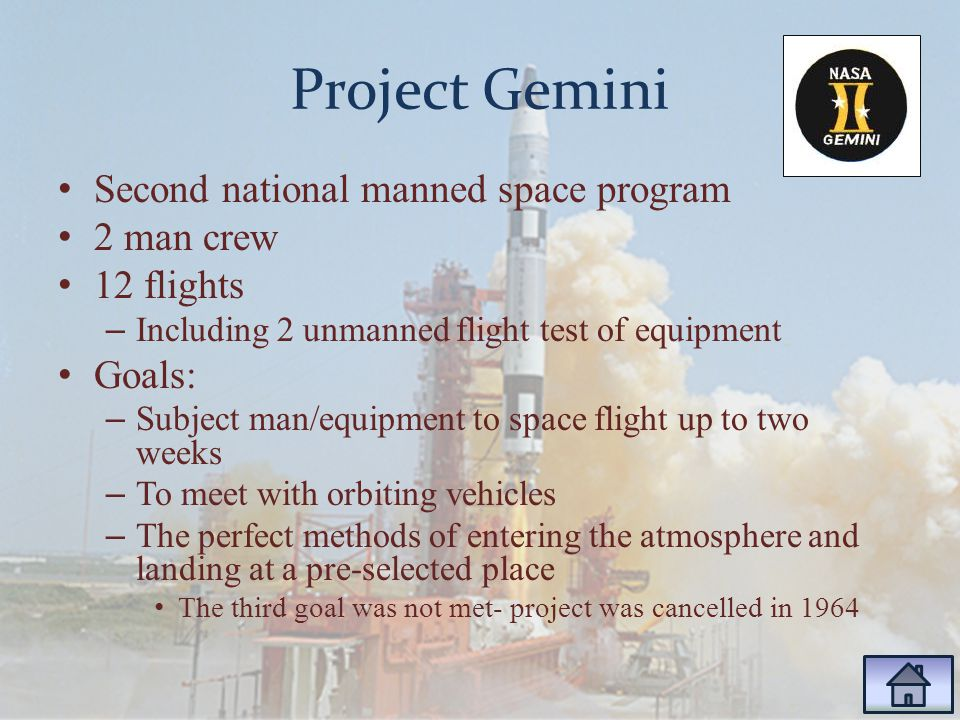 Project Gemini Second national manned space program 2 man crew 12 flights – Including 2 unmanned flight test of equipment Goals: – Subject man/equipment to space flight up to two weeks – To meet with orbiting vehicles – The perfect methods of entering the atmosphere and landing at a pre-selected place The third goal was not met- project was cancelled in 1964