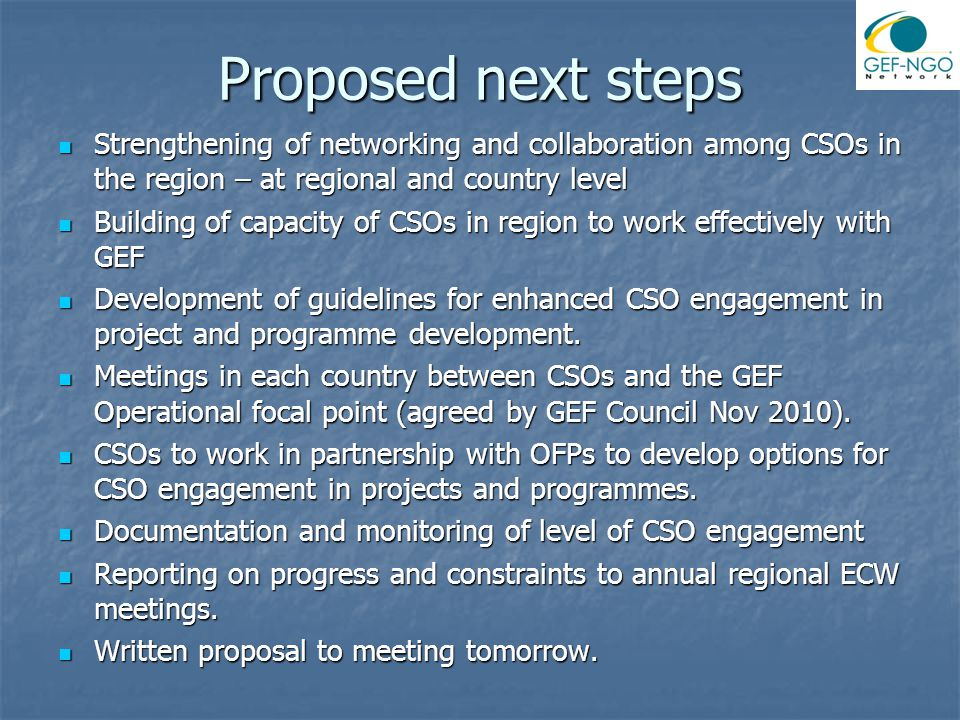 Proposed next steps Strengthening of networking and collaboration among CSOs in the region – at regional and country level Strengthening of networking and collaboration among CSOs in the region – at regional and country level Building of capacity of CSOs in region to work effectively with GEF Building of capacity of CSOs in region to work effectively with GEF Development of guidelines for enhanced CSO engagement in project and programme development.