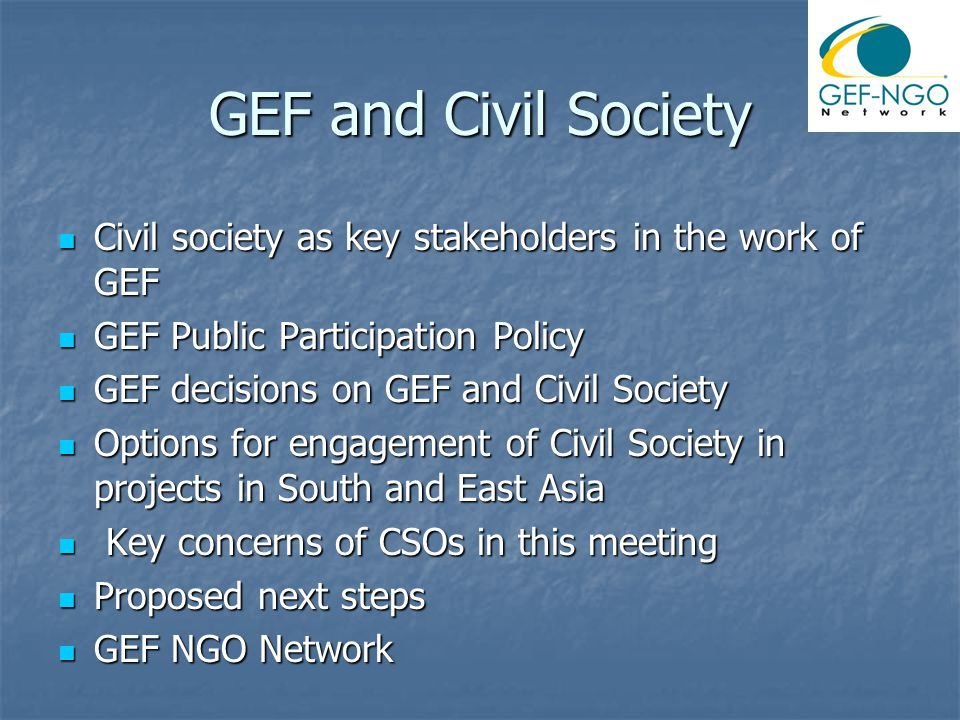 GEF and Civil Society Civil society as key stakeholders in the work of GEF Civil society as key stakeholders in the work of GEF GEF Public Participation Policy GEF Public Participation Policy GEF decisions on GEF and Civil Society GEF decisions on GEF and Civil Society Options for engagement of Civil Society in projects in South and East Asia Options for engagement of Civil Society in projects in South and East Asia Key concerns of CSOs in this meeting Key concerns of CSOs in this meeting Proposed next steps Proposed next steps GEF NGO Network GEF NGO Network