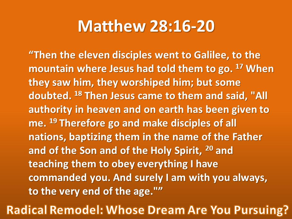 Then the eleven disciples went to Galilee, to the mountain where Jesus had told them to go.