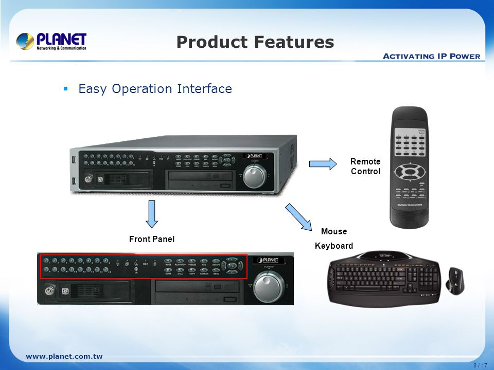 8 / 17 Product Features  Easy Operation Interface Front Panel Remote Control Mouse Keyboard
