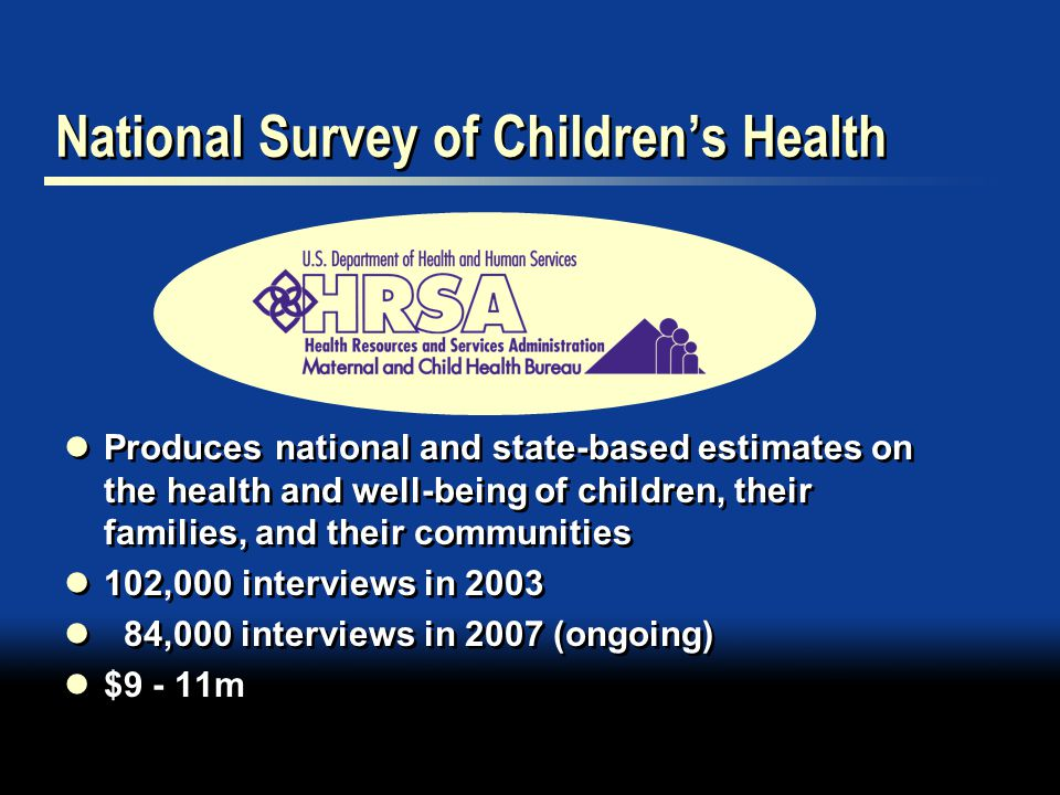 National Survey of Children's Health Produces national and state-based estimates on the health and well-being of children, their families, and their communities 102,000 interviews in ,000 interviews in 2007 (ongoing) $9 - 11m Produces national and state-based estimates on the health and well-being of children, their families, and their communities 102,000 interviews in ,000 interviews in 2007 (ongoing) $9 - 11m