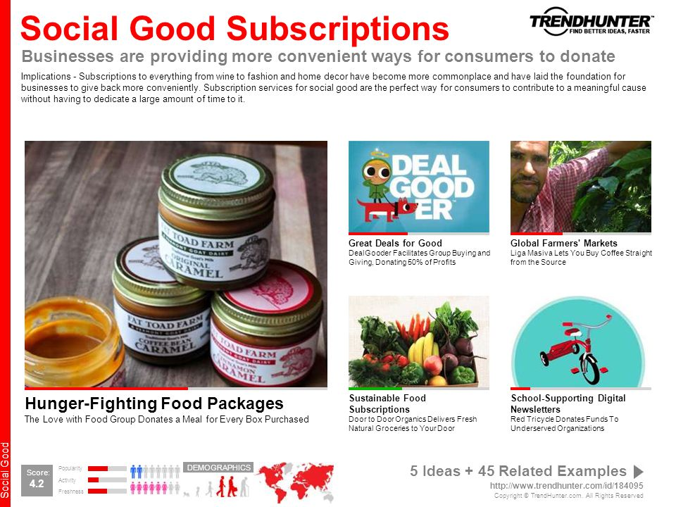 Social Good Social Good Subscriptions Businesses are providing more convenient ways for consumers to donate Implications - Subscriptions to everything from wine to fashion and home decor have become more commonplace and have laid the foundation for businesses to give back more conveniently.