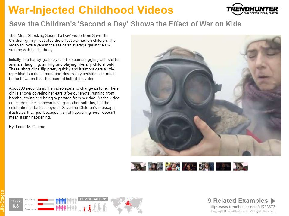 Life-Stages War-Injected Childhood Videos Save the Children s Second a Day Shows the Effect of War on Kids The Most Shocking Second a Day video from Save The Children grimly illustrates the effect war has on children.