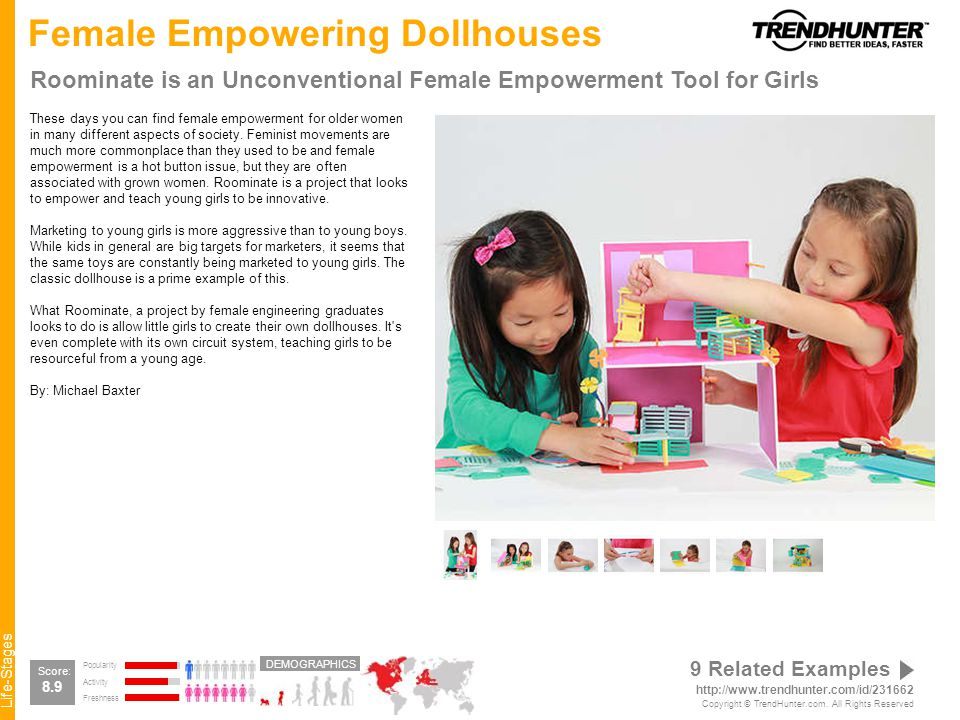 Life-Stages Female Empowering Dollhouses Roominate is an Unconventional Female Empowerment Tool for Girls These days you can find female empowerment for older women in many different aspects of society.