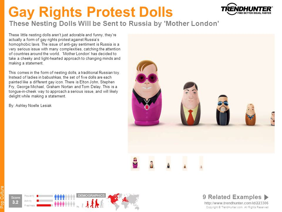 Pop Culture Gay Rights Protest Dolls These Nesting Dolls Will be Sent to Russia by Mother London These little nesting dolls aren t just adorable and funny, they re actually a form of gay rights protest against Russia s homophobic laws.