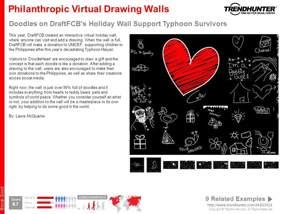 Social Good Philanthropic Virtual Drawing Walls Doodles on DraftFCB s Holiday Wall Support Typhoon Survivors This year, DraftFCB created an interactive virtual holiday wall, where anyone can visit and add a drawing.