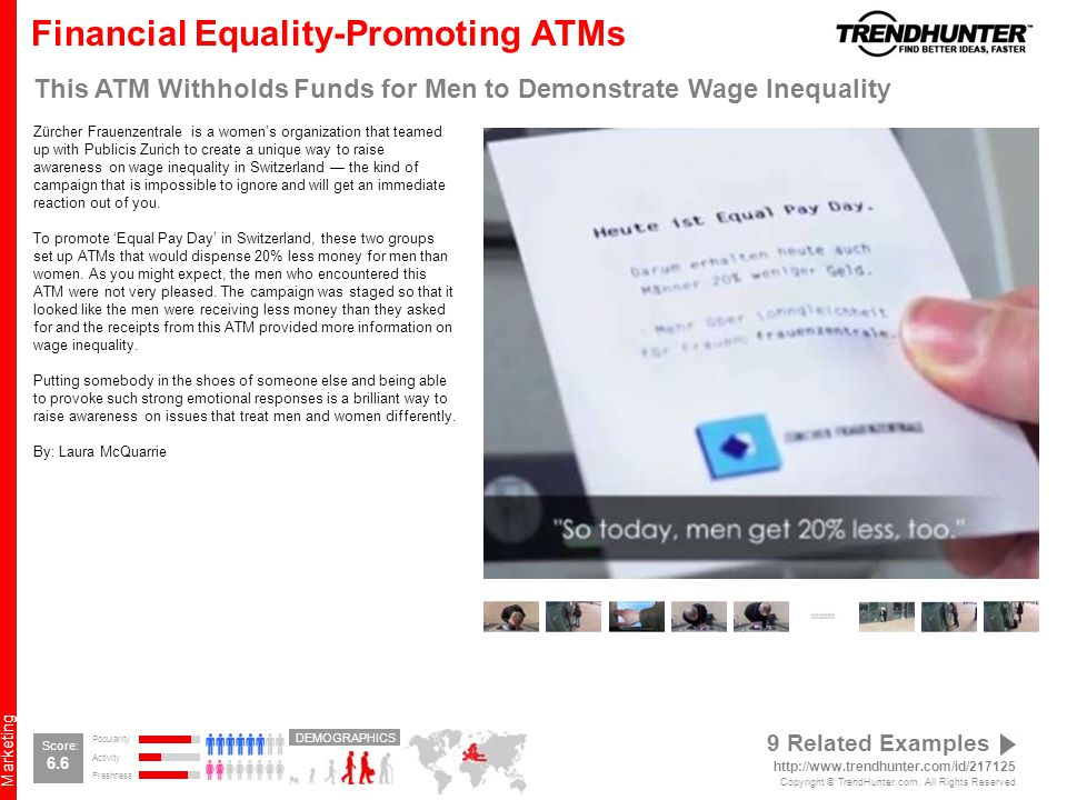 Marketing Financial Equality-Promoting ATMs This ATM Withholds Funds for Men to Demonstrate Wage Inequality Zürcher Frauenzentrale is a women's organization that teamed up with Publicis Zurich to create a unique way to raise awareness on wage inequality in Switzerland — the kind of campaign that is impossible to ignore and will get an immediate reaction out of you.