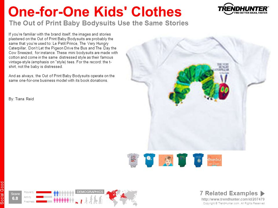 Social Good One-for-One Kids Clothes The Out of Print Baby Bodysuits Use the Same Stories If you re familiar with the brand itself, the images and stories plastered on the Out of Print Baby Bodysuits are probably the same that you re used to: Le Petit Prince, The Very Hungry Caterpillar, Don't Let the Pigeon Drive the Bus and The Day the Cow Sneezed, for instance.