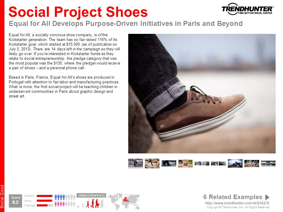 Social Good Social Project Shoes Equal for All Develops Purpose-Driven Initiatives in Paris and Beyond Equal for All, a socially concious shoe company, is of the Kickstarter generation.