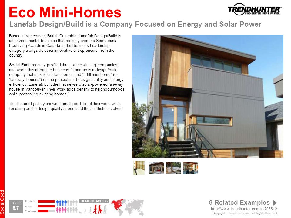 Social Good Eco Mini-Homes Lanefab Design/Build is a Company Focused on Energy and Solar Power Based in Vancouver, British Columbia, Lanefab Design/Build is an environmental business that recently won the Scotiabank EcoLiving Awards in Canada in the Business Leadership category alongside other innovative entrepreneurs from the country.