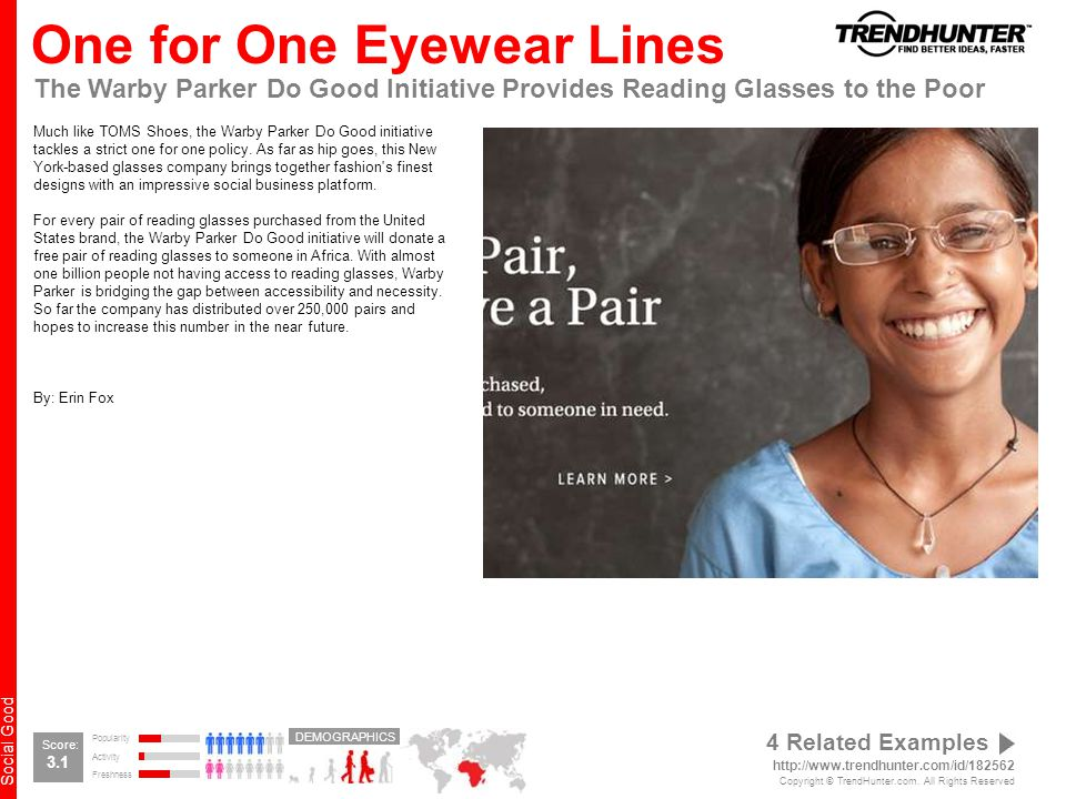 Social Good One for One Eyewear Lines The Warby Parker Do Good Initiative Provides Reading Glasses to the Poor Much like TOMS Shoes, the Warby Parker Do Good initiative tackles a strict one for one policy.
