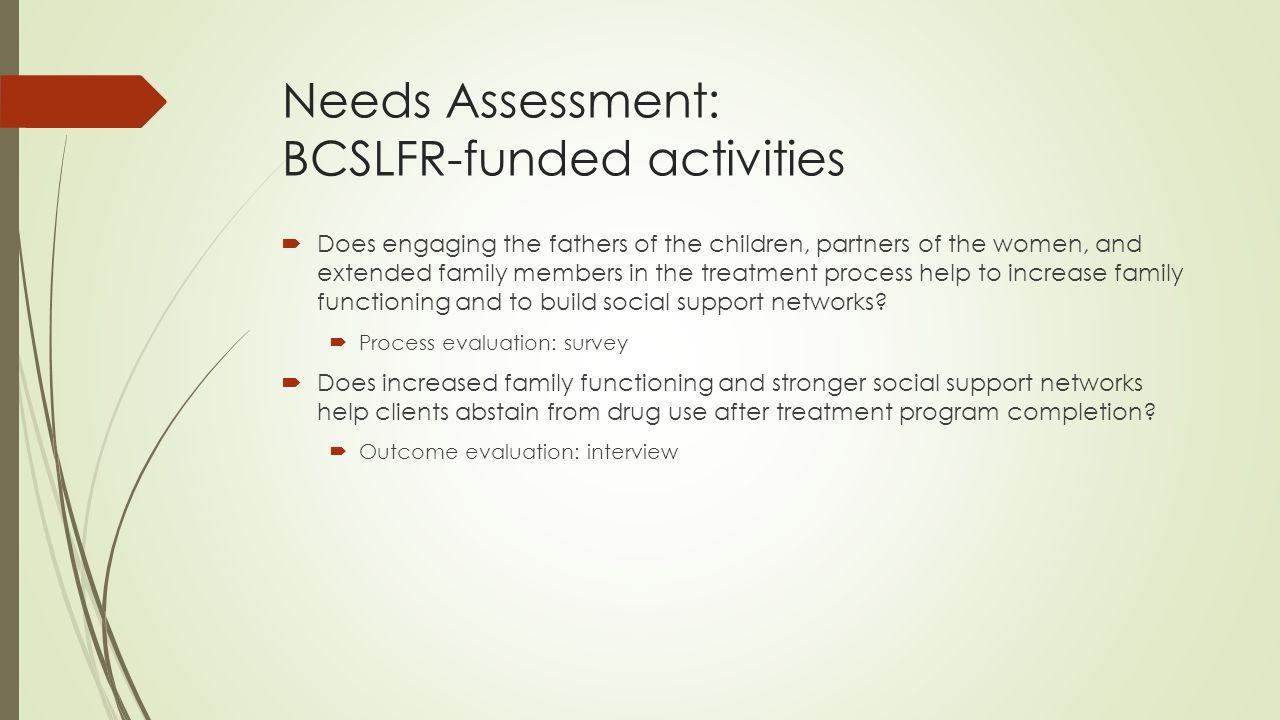 Needs Assessment: BCSLFR-funded activities  Does engaging the fathers of the children, partners of the women, and extended family members in the treatment process help to increase family functioning and to build social support networks.