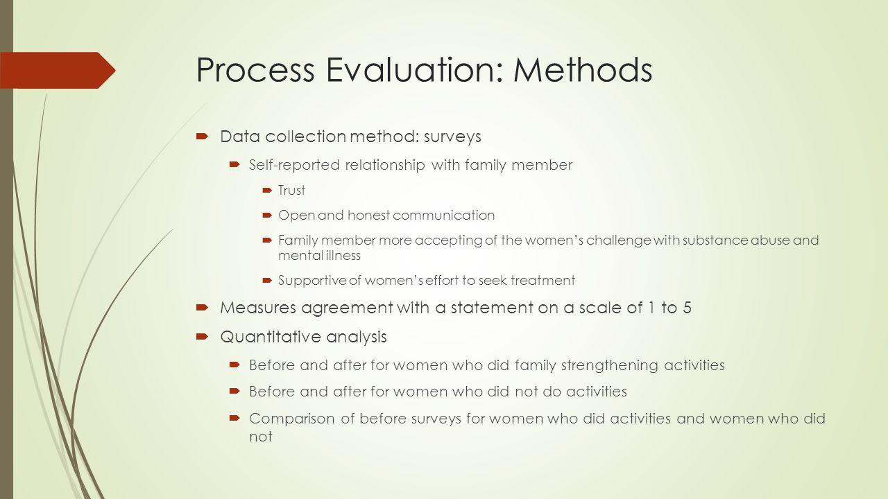 Process Evaluation: Methods  Data collection method: surveys  Self-reported relationship with family member  Trust  Open and honest communication  Family member more accepting of the women's challenge with substance abuse and mental illness  Supportive of women's effort to seek treatment  Measures agreement with a statement on a scale of 1 to 5  Quantitative analysis  Before and after for women who did family strengthening activities  Before and after for women who did not do activities  Comparison of before surveys for women who did activities and women who did not