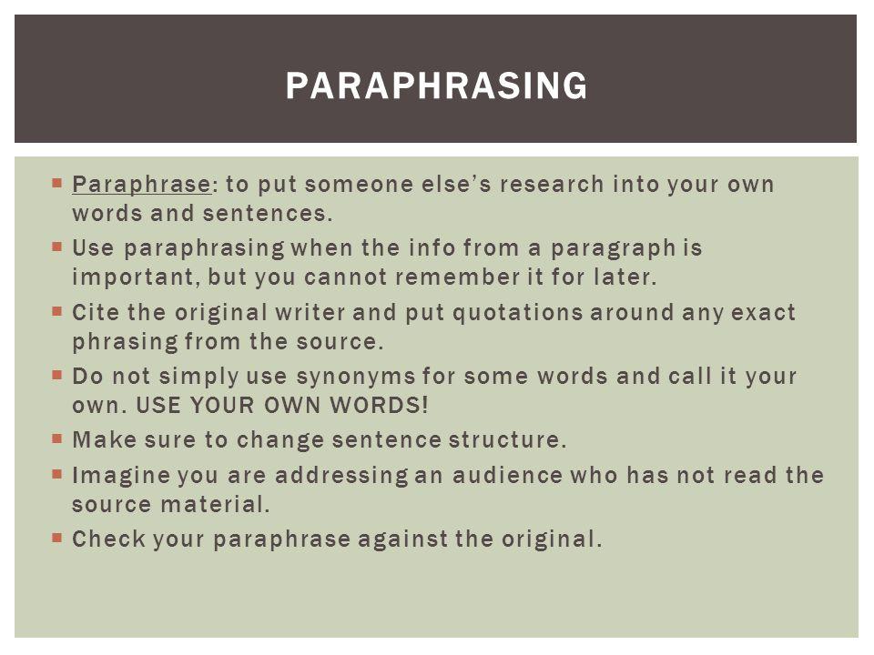 Use paraphrase in a sentence