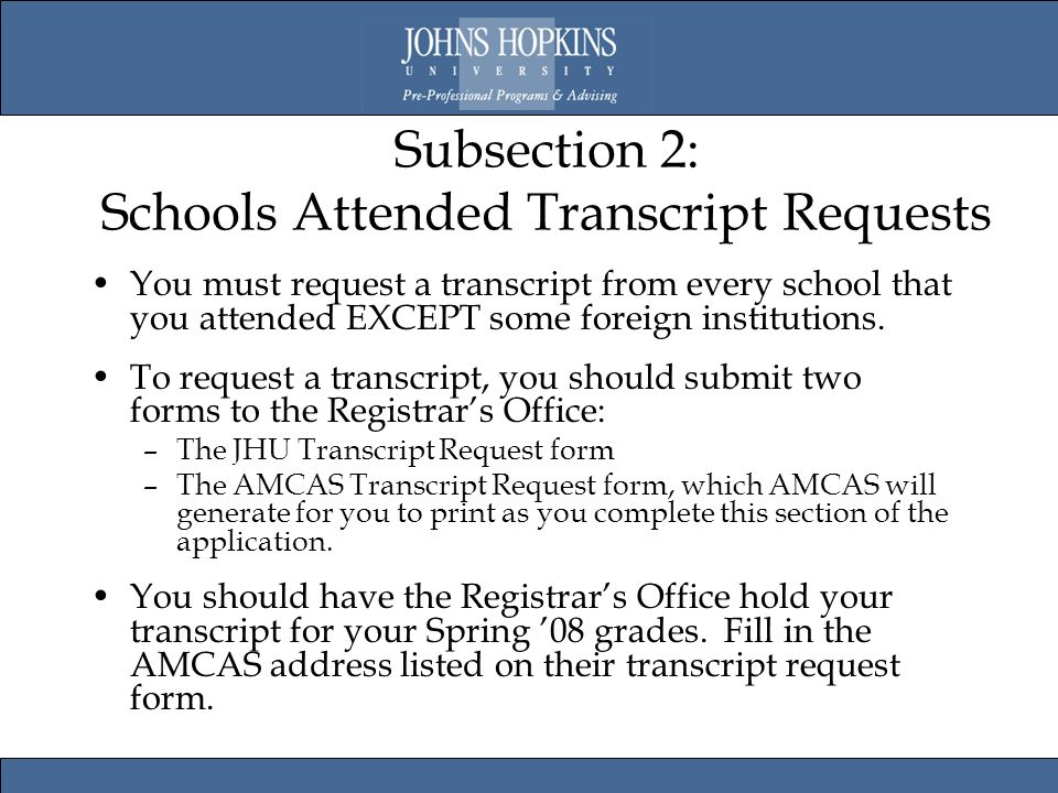 AMCAS 2009 Hints & Suggestions for John Hopkins Applicants. - ppt ...