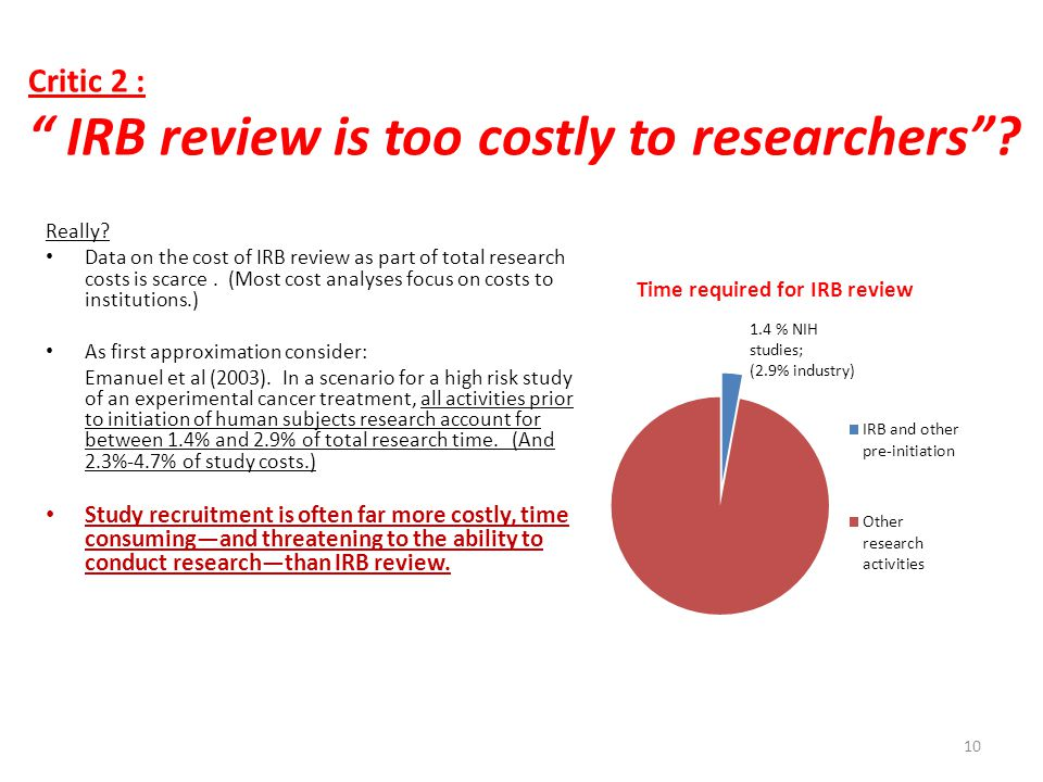Critic 2 : IRB review is too costly to researchers .