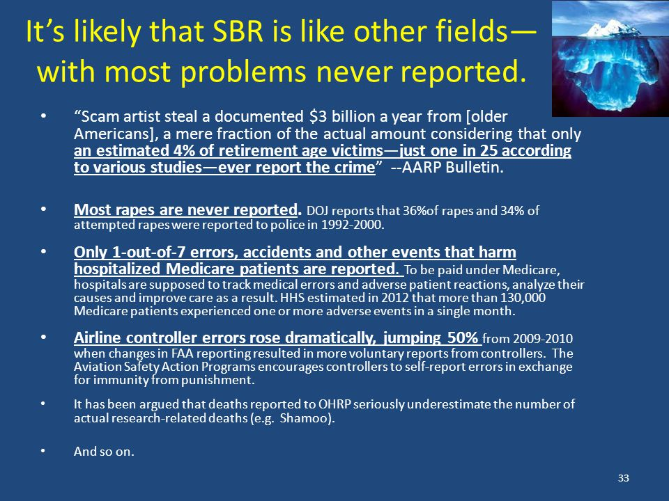 It's likely that SBR is like other fields— with most problems never reported.