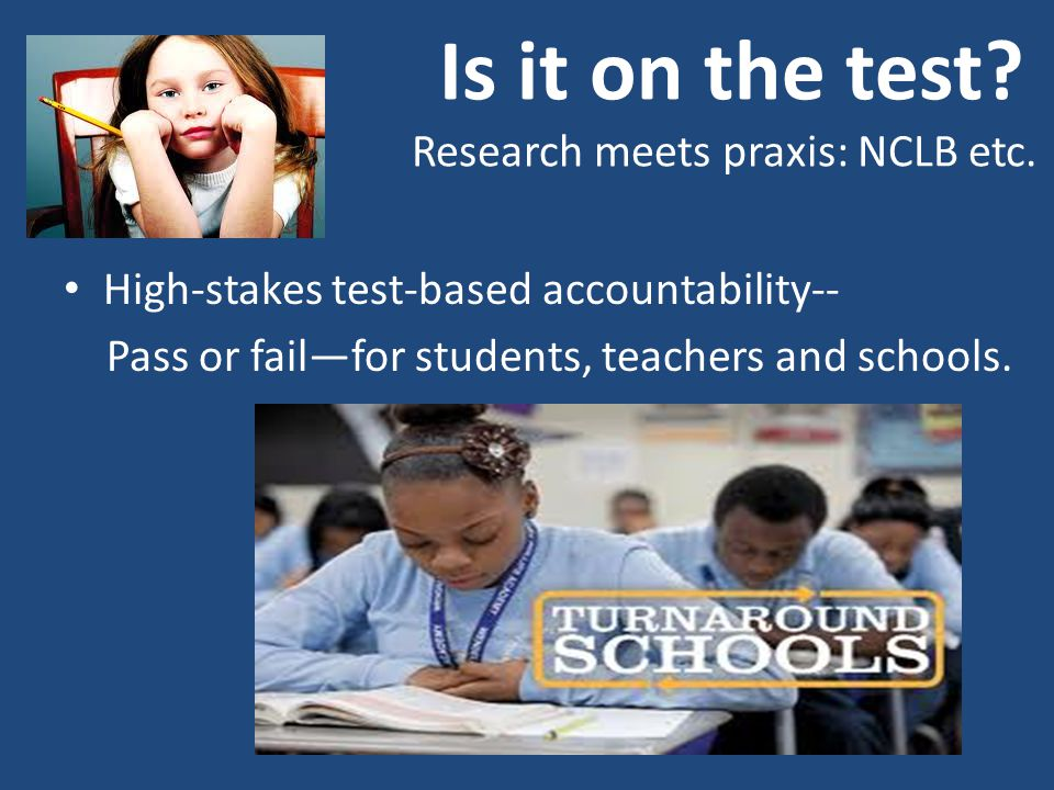 Is it on the test. Research meets praxis: NCLB etc.