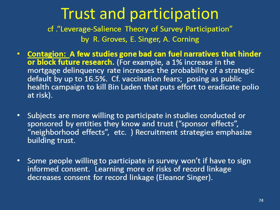 Trust and participation cf. Leverage-Salience Theory of Survey Participation by R.