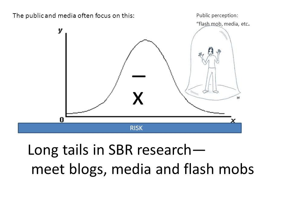 Long tails in SBR research— meet blogs, media and flash mobs RISK _ x Public perception: flash mob, media, etc.