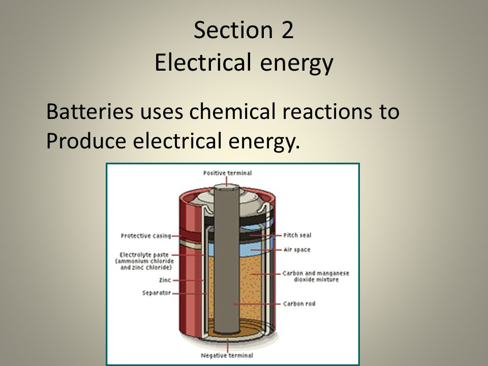 Section 2 Electrical energy Batteries uses chemical reactions to Produce electrical energy.